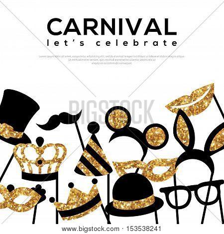 Banner Template with Golden Carnival Masks on White Background. Glittering Celebration Festive Border. Vector Illustration.