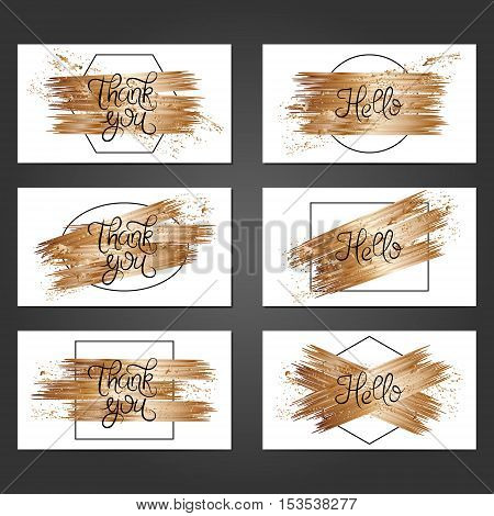 Collection of 6 vintage card templates with copper brushstrokes on white background. For the wedding marriage save the date cards invitations greetings. Grunge retro design with copper paint.