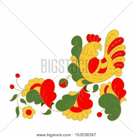 Rooster portrait cartoon vector illustration. Holiday card design element. Chinese year symbol.