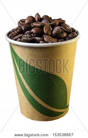 Coffee beans in cup with leaf symbol isolated on white background