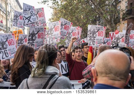 Madrid, Spain - October 26, 2016 - Students Marching At Protest Against Education Politics In Madrid