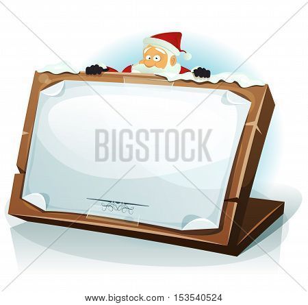 Illustration of a cartoon happy santa claus character hiding behind wood tablet with paper sign for merry christmas holidays wishes and children gift list
