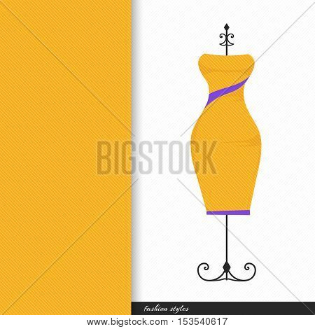Vector illustration of fashionable women's dresses on the hanger with seamless geometric linear pattern.