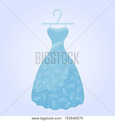 Stylish women's dress on a blue background.