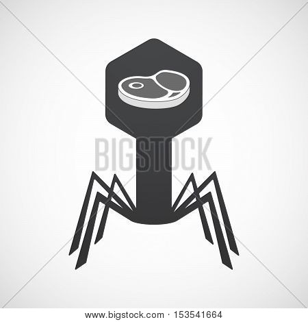 Isolated Virus Icon With  A Steak Icon
