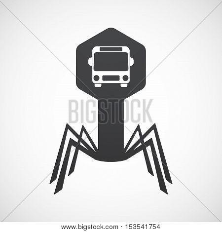 Isolated Virus Icon With  A Bus Icon