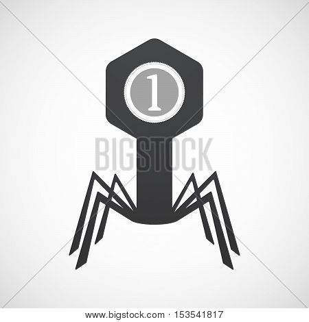 Isolated Virus Icon With  A Dollar Coin Entering In A Moneybox