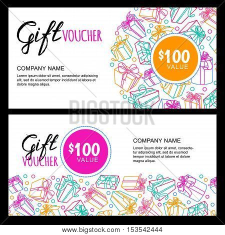 Vector Gift Voucher Template With Outline Multicolor Gift Box And Ribbons.