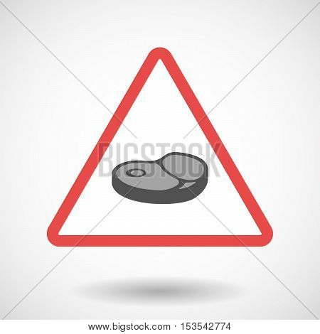 Isolated Warning Sign Icon With  A Steak Icon