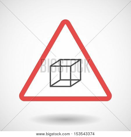 Isolated Warning Sign Icon With  A Cube Sign