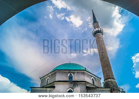 View at mosque in old city Sarajevo, Europe.