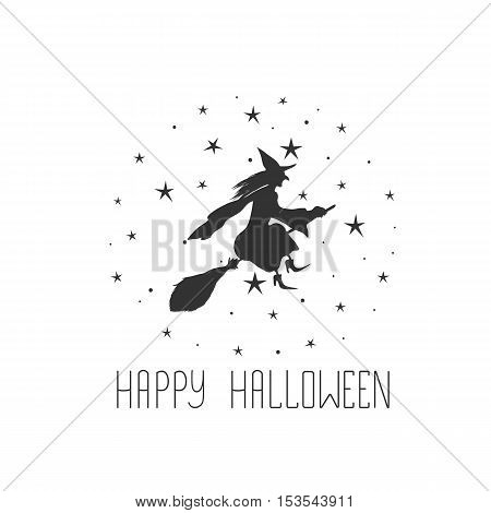 Halloween card with witch and text Happy Halloween.