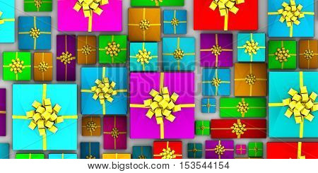 Pile of Presents as an Entire Whole Background Art 3d Illustration Render