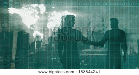 Banking and Finance Sector with Men Shaking Hands 3d Illustration Render