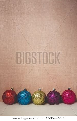 Christmas and new year background with ball on old wooden table