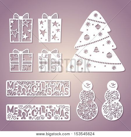 Set of openwork paper figures. New Year's decor. Laser Cutting template for greeting cards invitations interior decorative elements.