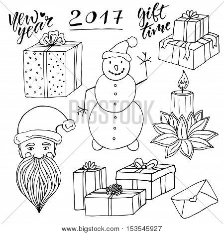New Year collection with Santa and snowman. Christmas vector elements. New year gift cards decoration