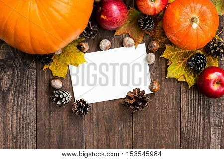 happy thanksgiving greeting card with seasonal fruits and vegetables and copy space