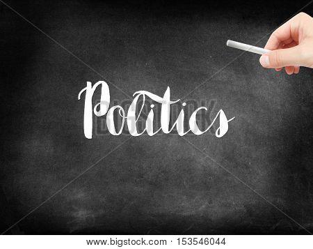 Politics written on a blackboard