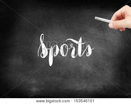 Sports written on a blackboard