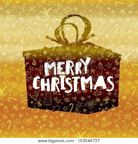 Merry Christmas lettering on black gift box. Gold holiday background
