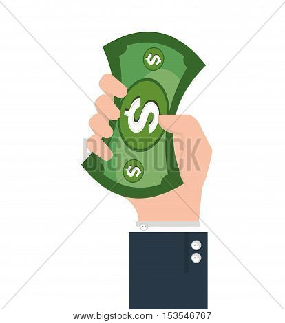 hand human with money vector illustration design