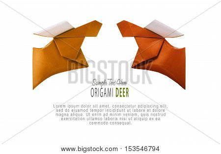 Origami paper brown couple running deer on a white background