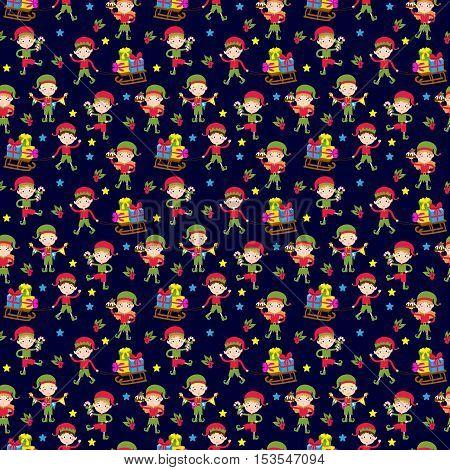 Santa Claus kids cartoon elf helpers seamless pattern vector illustration. Santa Claus elf helpers children. Santa helpers traditional costume. Santa family elfs isolated. Santa Claus elf kids