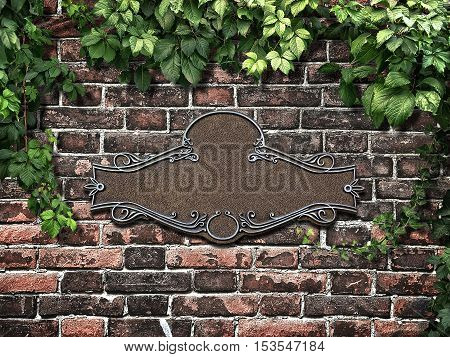 Vintage cast metal plate and climbing plant on the old brick wall