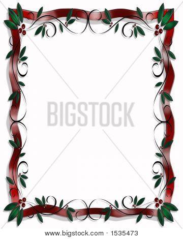Christmas Holly And Ribbon Vertical Border