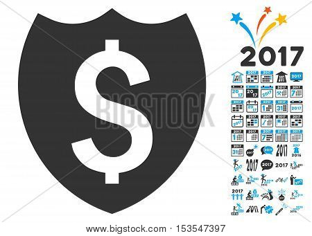 Bank Insurance Shield pictograph with bonus 2017 new year pictures. Vector illustration style is flat iconic symbols, modern colors.