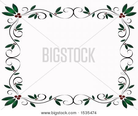 Christmas Holly Over White Border
