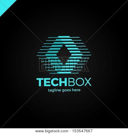 Digital Move Logo. Tech Arrow Box Logo. Technology Media Rhomb