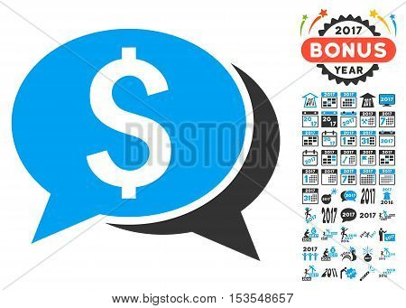 Financial Chat pictograph with bonus 2017 new year icon set. Vector illustration style is flat iconic symbols, modern colors.