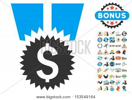 Financial Medal pictograph with bonus 2017 new year pictograph collection. Vector illustration style is flat iconic symbols, modern colors.