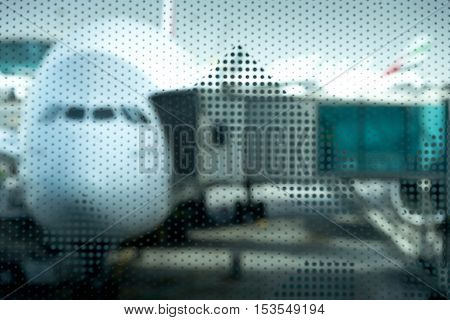 Airplane prepare for fight at the air port, unfocused dot effect