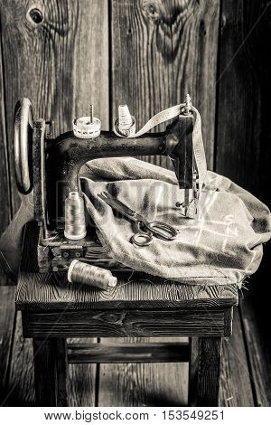 Tailor Machine With Scissors, Cloth And Threads