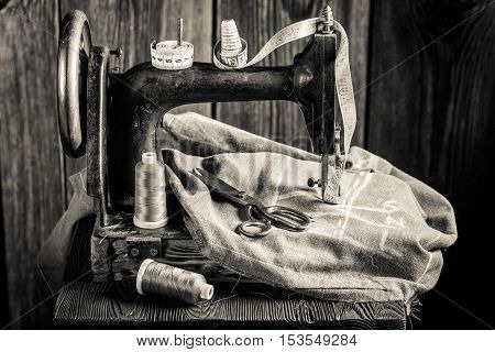 Tailor Machine With Threads, Scissors And Cloth