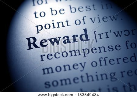 Fake Dictionary Dictionary definition of the word reward.