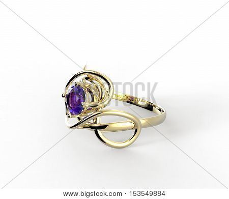 Wedding ring with diamond. Stylish Jewelry. 3d digitally rendered illustration