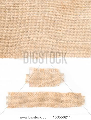 Burlap fabric label pieces, rustic hessian patch isolated on white background