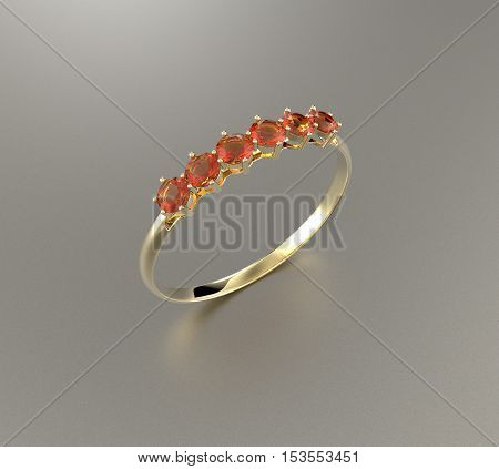 Wedding ring with diamonds. Fashion jewelry. 3d digitally rendered illustration