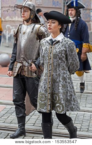 TIMISOARA ROMANIA - OCTOBER 162016:Medieval soldiers on the street. Show organized by City Hall Timisoara to celebrate the 300 years since the entry of Eugene of Savoy into the fortress.