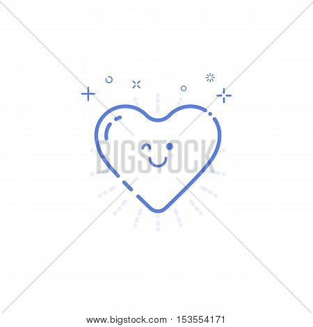 Vector illustration of icon shopping concept likes in line style. Linear blue heart with geometric symbols. Design for internet, banner, web page and mobile app. Outline object e-commerce.