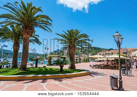 Beautiful town square in center of Porto Azzurro of Elba island in summer season, Italy
