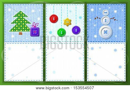 Vector set of Christmas or New Year greeting cards with place for your text. Sewing buttons, stitches and fabric texture - fashion party template