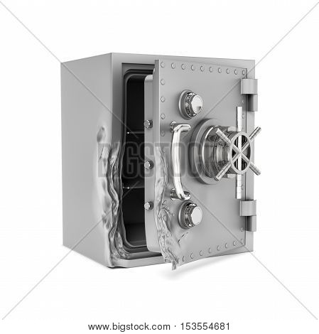 3D rendering of an open safe with its door broken open isolated on the white background. Theft and property crime. Safes and vaults. Storing up savings.