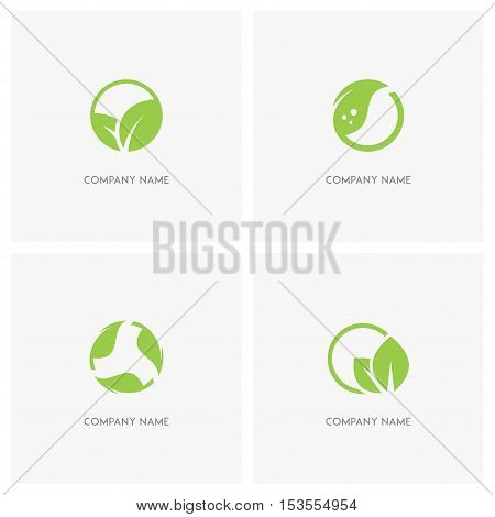 Green leaves and ecology vector logo. Fresh leaf in circle, green sprout or plant, balance in nature - spring, eco and environment icons.