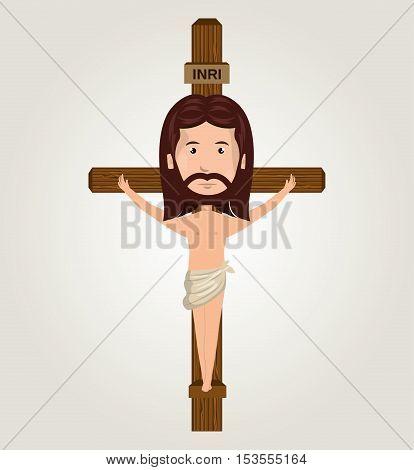 Jesus christ crucifix desing isolated vector illustration eps 10
