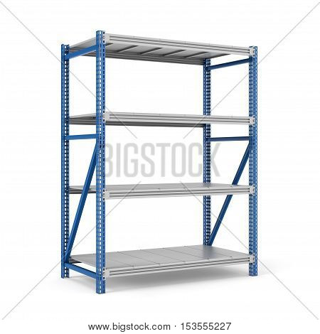 3d rendering of a four-storey steel storage rack isolated on the white background. Storage furniture. Free standing racks and shelves. 3d modeling.